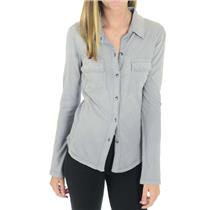 XS NEW Splendid Slate Gray SOFT Button Up Shirt 100% Cotton Jersey ST649X4SLT