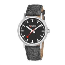 Mondaine Swiss Railways Watch. Fuzzy Fabric/Leather Strap Mens A660.30360.14SBH