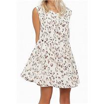 S NEW Free People Fake Love Open Back Mini Dress in Neutral Leopard Print