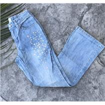Kids 10 Gap Kids Snowflake Embroidered Bootcut Beaded Jeans Adjustible Waistband
