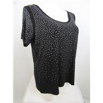 Calvin Klein Size 3X Jet Black Sparkle All Over Short Sleeve Embellished Top
