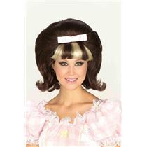 60's Princess Hairspray Flip Wig Brown Bouffant with Blonde and Brown Bangs