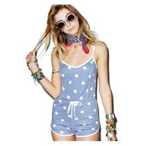 L NEW Wildfox Swim Star Spangled Pool Party Romper Patriot Blue White Star Print