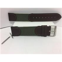 Swiss Army Watch Band Cavalry Man's A 18mm Green Fabric Mesh and Brown Leather