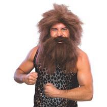Brown Prehistoric Cave Man Wig and Beard