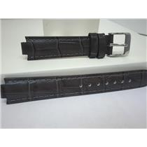 Pulsar WatchBand PJ2015 Ladies Dark Gray Leather Strap 8mm Wide 16mm at Shoulder