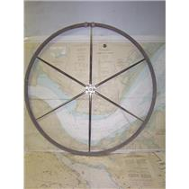 """Boaters' Resale Shop of TX 1906 0722.22 LEATHER WRAPPED 36"""" STEERING WHEEL"""