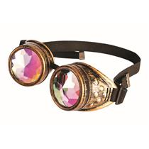 Steampunk Hologram Kaleidoscope Gold Goggles