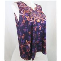 Catherines Size 3X Purple Print Polyester Embellished Tank