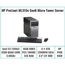 HP ProLiant ML310e Gen8 Tower + E3-1240 v2 Quad-Core Xeon 3.4GHz + 16GB RAM + 4×4TB 7.2K SATA + P420