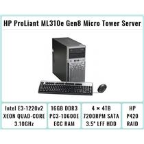 HP ProLiant ML310e Gen8 Tower + E3-1220 v2 Quad-Core Xeon 3.1GHz + 16GB RAM + 4×4TB 7.2K SATA + P420