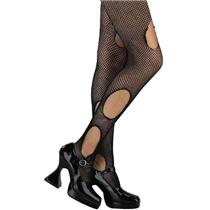 Black Torn Fishnet Punk Grunge Pantyhose to Size 14