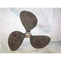 "Boaters' Resale Shop of TX 1911 1427.04 BRONZE 3 BLADE 16RH14 PROP *1-1/8"" SHAFT"