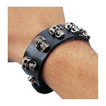 Black Leather-Look Bracelet With Studded Skulls Cuff