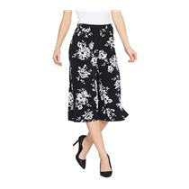 Susan Graver Size 2X Black/White Floral Liquid Knit Pull-On Wide Leg Crop Pants