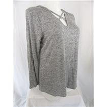 Lane Bryant Size 14/16 Heather Grey Long Sleeve Athleisure Top with Hood