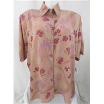 Beverly Rose USA Size 5X Antique Rose Short Sleeve Button Front Tunic