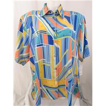 Beverly Rose USA Size 5X Blue Geometric Print Short Sleeve Button Front Tunic