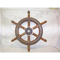 """Boaters' Resale Shop of TX 2109 2451.62 WOODEN 27"""" SHIPS WHEEL FOR 1"""" SHAFT"""