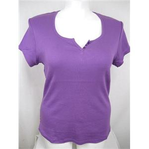Ladies Plus Size 22/24W Rib Knit Cotton Top with Rounded Hem in Purple