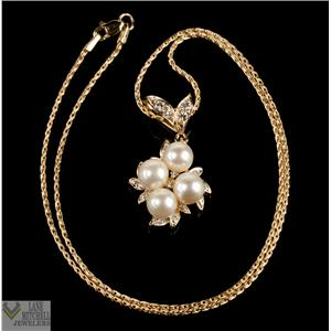 "Beautiful Unique 14k Yellow Gold Pearl & Diamond Cluster Pendant W/ 18"" Chain"
