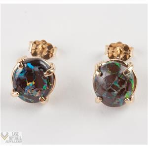 Beautiful Ladies 14k Yellow Gold Oval Cut Boulder Opal Stud Earrings 2.0ctw