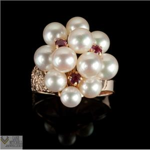 Classic 14k Yellow Gold Round Cut Ruby & Pearl Cocktail Ring .30ctw