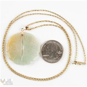 "Unique 14k Yellow Gold Nephrite Jade Etched Pendant W/ 24"" Chain"