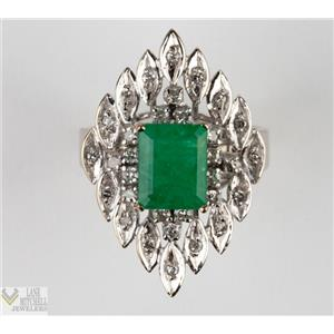 14k White Gold Emerald Solitaire Cocktail Ring W/ Diamond Accents 1.98ctw