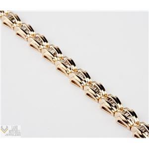 "Modern 14k Yellow Gold Baguette Diamond 7"" Tennis Bracelet 1.68ctw"