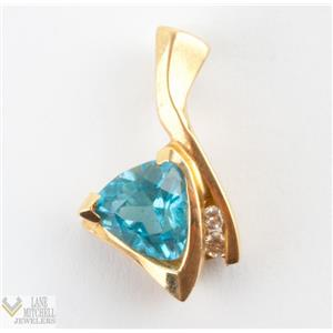 14k Yellow Gold Trillion Cut Blue Swiss Topaz Solitaire Pendant W/ DIA Accents