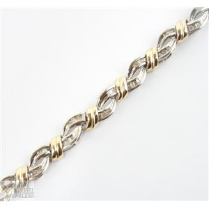 Two Toned 10k White & Yellow Gold Baguette & Round Cut Diamond Tennis Bracelet 7""