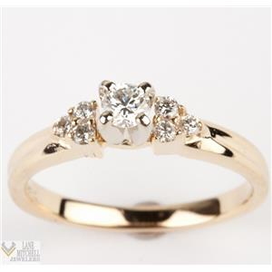 Classic 14k Yellow Gold Diamond Engagement Ring Solitaire w/ Accents .27ctw