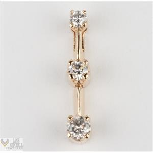 14k Yellow Gold Three Stone Round Diamond Past Present Future Journey Pendant