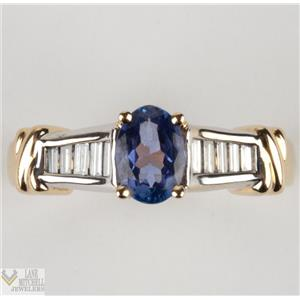 14k Yellow & White Gold Oval Cut Tanzanite Solitaire W/ Diamond Baguette Accents