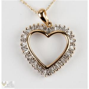 "Ladies 14k Yellow Gold Round & Baguette Cut Diamond Heart Pendant W/ 18"" Chain"