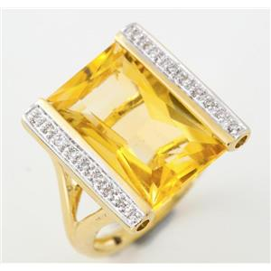 14k Yellow & White Gold Rectangle Cut Citrine & Diamond Cocktail Ring 6.30ctw