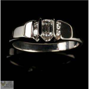 Lovely 14k White Gold Emerald Cut Diamond Engagement Ring W/ Accents .43ctw