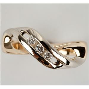 Ladies Unique 14k Yellow & White Gold Round Cut Three Stone Diamond Ring .24ctw