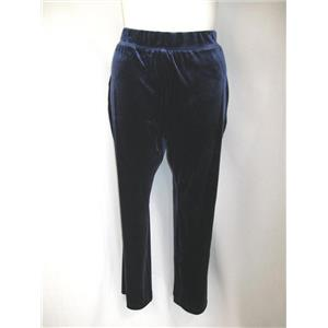 Susan Graver Size 3XP Stretch Velvet Wide Waistband Navy Pants Petite Length
