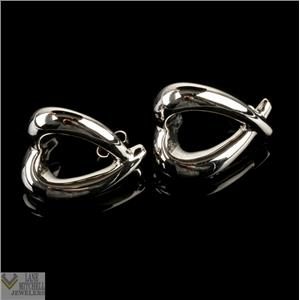 Ladies Cute 14k White Gold Dangle Heart Earrings W/ Butterfly Backs 5.2g