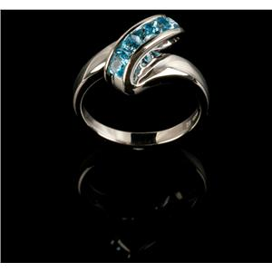 Ladies Modern 14k White Gold Square Cut Swiss Blue Topaz Five-Stone Ring .55ctw