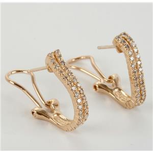 Ladies 14k Yellow Gold Round Cut Diamond Huggie Earrings W/ Lever Backs .65ctw