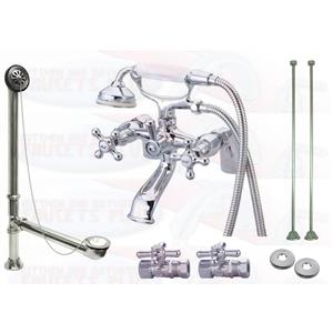 "Kingston Brass CCK267C 6"" Deck Mount Claw Foot Tub Filler-Shower Mixer Kit - Polished Chrome"