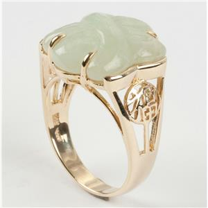 Ladies 14k Yellow Gold Knot Cut Jadeite Solitaire Ring 8.0g