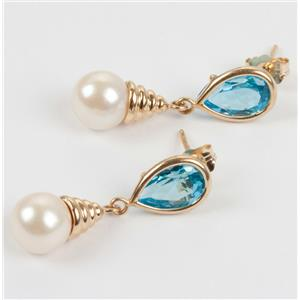 Ladies Unique 14k Yellow Gold Swiss Blue Topaz & Pearl Dangle Earrings 4.0ctw