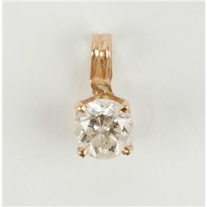 Classic Traditional 14k Yellow Gold Round Cut Diamond Solitaire Pendant .47ct