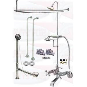 Chrome Clawfoot Tub Faucet Package – Faucet, Oval Shower Enclosure W/Head, Drain & Supply Kit
