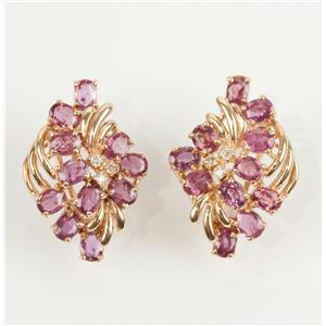 Stunning 14K Yellow Gold Oval Cut Ruby & Diamond Flower Earrings 5.60ctw