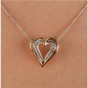 "14k Yellow & White Gold Round Cut Diamond Open Heart Pendant W/ 18"" Chain"
